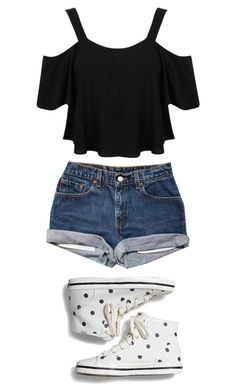 """Polka Dotted Converse"" by cornerofquirkyandspectacular ❤ liked on Polyvore featuring Miss Selfridge and Keds"
