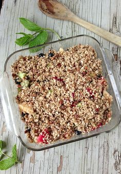 Apple, Rhubarb & Berry Crisp via MealMakeoverMoms.com/kitchen #dessert #heatlhy #oats #pecans
