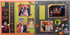 Halloween, Disney style! Since the cruise fell over Halloween, the ship offered trick or treating for the kids, and lots of fun activities around the ship. What a fun memory. The open green space is for the family to write their own journal memories. #Disney #halloween #trickortreat #cruise #scrapbook #layout