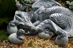 Dragon Sculpture Handmade Fantasy Garden Concrete by PhenomeGNOME