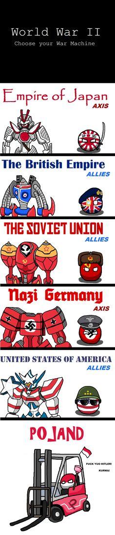 War Machine ( Japan, UK, Soviet, Germany, USA, Poland ) by Pan Aaron #polandball…