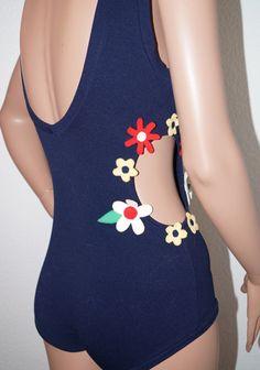 '60s Navy Mod Floral Applique Cutout Swimsuit