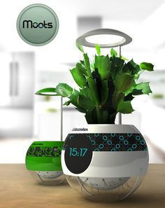 Pot Moots is your futuristic concept plant pot designed to blend perfectly with modern home, it allows you to grow plants inside your home. The word moots itself came from the combination of two words: seed and moods. It informs you when the plant needs more water or nutrition, a smart pot with touch screen display. Simply buy multiple pots to enlarge your garden, each pot can be connected to each other so that you can control it from one place only.