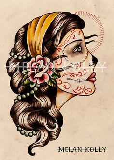 Gypsy Girl Tattoo Drawing | Custom Gypsy Girl Head Tattoo Design
