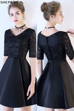 Onsale, Black Lace Short Homecoming Dress with Half Sleeves at SheProm. Dresses For Teens, Trendy Dresses, Modest Dresses, Simple Dresses, Fashion Dresses, Short Sleeve Dresses, Formal Dresses, Lace Dresses, Party Dresses