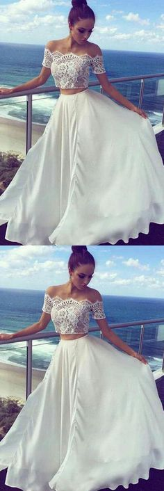 White Two Pieces Off The Shoulder Long Lace Cheap Prom Dresses,Formal Women Dress #promdress #evening #longdress #white #2piece #lace #cheap #okdresses