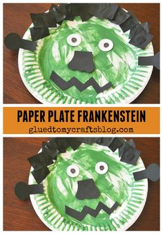Paper Plate Frankenstein - Halloween Themed Kid Craft Idea halloween crafts for kids Fall Arts And Crafts, Arts And Crafts Storage, Arts And Crafts For Teens, Daycare Crafts, Toddler Crafts, Preschool Crafts, Kids Crafts, Toddler Activities, Playgroup Activities