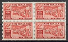 New-Zealand-1936-Sc-219-Butter-industry-Cow-Chamber-of-commerce-block-4-MNH