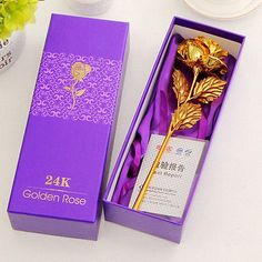 24k gold dipped rose long stem #flower #valentine's day #wedding lovers gift + bo,  View more on the LINK: http://www.zeppy.io/product/gb/2/201604621611/