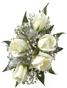 Mother of the bride corsage white roses baby's breath