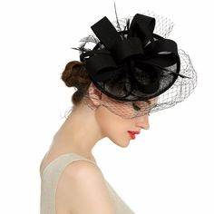 Newest Women Fancy Feather Fascinator Hats Black Birdcage Veil Wedding Hats  and Fascinators hair accessories 109822f4a5c4