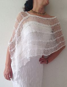 Summer white poncho white linen summer poncho  hand by Mrlworks