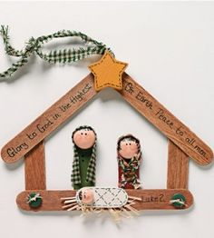 Using popsicle or craft sticks craft this simple DIY Christmas ornament to create a festive Nativity scene for your tree.