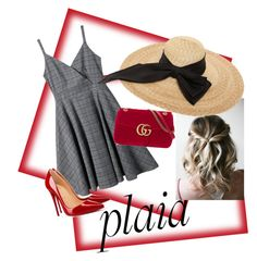 """""""plain #plaid"""" by lindacorp on Polyvore featuring Christian Louboutin, Gucci and Kreisi Couture"""