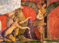 """Scene VII in the Villa de Misteri (Pompeii)  Initiation into the Dionysian Mysteries: under the imperial purple is probably a Herm, standing in a winnowing fan.  The winnowing fan (""""líknon"""" also meaning a """"cradle"""") featured in the rites accorded Dionysus and in the Eleusinian Mysteries, and in the birth narratives of Sargon the Great, Moses and Jesus."""