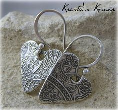 PMC Recycled Fine Silver Artisan Heart Textured Earrings SRAJD