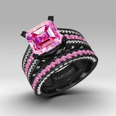 LOVES IT!!!! Pink and White Cubic Zirconia Asscher Cut Engagement Ring 925 Sterling Silver Black Wedding Ring Set http://www.vancaro.com/pink-and-white-cubic-zirconia-asscher-cut-engagement-ring-925-sterling-silver-black-wedding-ring-set.html