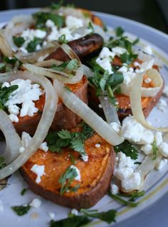 Jessi's grilled sweet potato salad recipe.  leave feta on side for others for allergen free