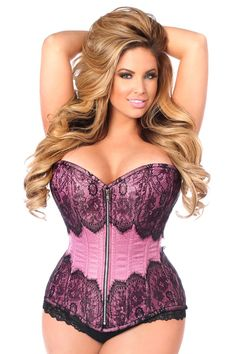 Daisy Corsets Top Drawer Pink Brocade Steel Boned Corset w/Black Eyelash Lace