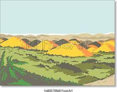 Chocolate-hills-bohol-WPA - Artwork - Art Print from FreeArt.com