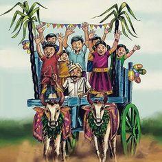 Pongal o pongal Farmer Painting, Art Sketches, Art Drawings, Pongal Celebration, Festival Paint, Happy Pongal, Happy Diwali, Indian Illustration, Art Village