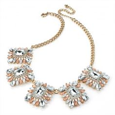 Crystal and Gold Colour Peach and White Bead Chain Necklace