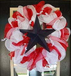 Patriotic Deco Mesh Wreath--Fourth of July on Etsy, $55.00