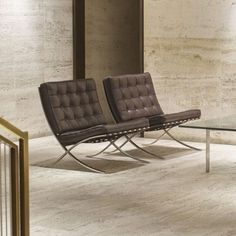 Ludwig Mies van der Rohe / Barcelona chairs from the entrance lobby of The Four Seasons, pair of