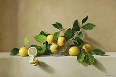 pinturas-al-oleo-de-bodegones-hiperrealistas-con-frutas Still Life Images, Be Still, Pear, Bing Images, Death, Living Alone, Nature, Yellow Art, Murals