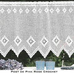PINK ROSE CROCHET: Barrado de Crochê com Losangos para Cortina Bistrô