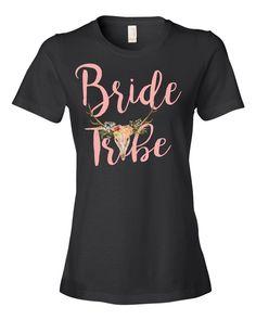 5b67e70b Bride Tribe Matching T-Shirt - BOHO Skull Bridal Party Tee - Wedding Party  T-Shirt - Bridal Party Matching Tshirts