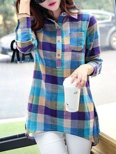 Casual Shirt Collar Long Sleeve Plaid Linen Blouse For Women Xl Shirt, Shirt Blouses, Trendy Tops For Women, Blouses For Women, Kurta Designs, Blouse Designs, Blouse En Lin, Designer Kurtis, Designer Wear
