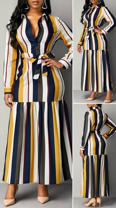 Turndown Collar Stripe Print High Waist Dress - New Site Long African Dresses, Latest African Fashion Dresses, Posh Dresses, Casual Dresses, Elegant Dresses Classy, Stylish Work Outfits, African Traditional Dresses, African Attire, Outfits Dress