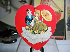 Art deco Heart Shaped Bridge Tally card with beautiful graphics of a couple unused 1920's-30's