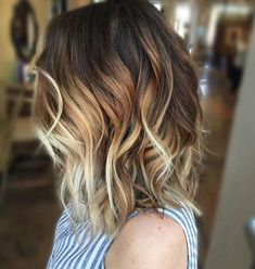 Caramel Blonde Balayage Highlights on Lob Haircut