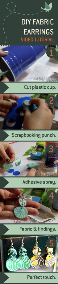 Create custom earrings from a plastic cup, a paper punch, and your favorite fabric prints.