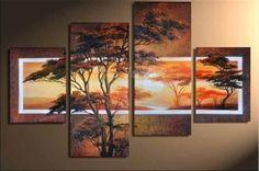4 peça abstraite moderne mur de toile de panneau muti brun africaine oeuvre…