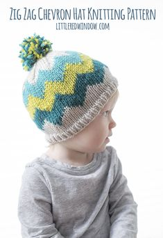 This cute and colorful zig zag chevron hat knitting pattern is a great intro to fair isle knitting and can be customized in any colors you want! Baby Hat Knitting Pattern, Fair Isle Knitting Patterns, Free Knitting, Crochet Patterns, Sock Knitting, Stitch Patterns, Vintage Knitting, Sweater Patterns, Hat Patterns