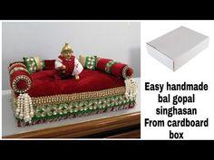Laddu gopal singhasan/,Handmade bal gopal aasan for janmashtmi/ easy handmade singhasan Diy Crafts Room Decor, Diy Crafts Hacks, Janamashtami Decoration Ideas, Janmashtami Decoration, Laddu Gopal Dresses, Personalised Gifts Diy, Bal Gopal, Ladoo Gopal, Bal Krishna