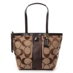 Coach Signature Stripe Tote Khaki & Mahogany - 21950 for only $149.99 You save: $118.01 (44%) + Free Shipping