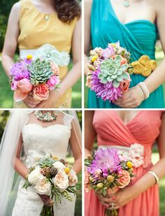 whimsical pastel DIY wedding | bright florals + succulents make up the mismatched bouquets