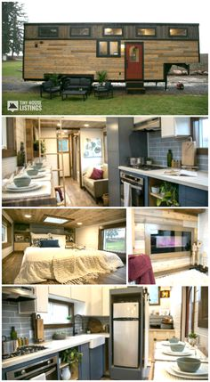 A custom tiny house built on a gooseneck frame designed and built by Tiny Heirloom. Features a fireplace, Harwood floors and a skylight to bring in extra light. This tiny house definitely lives up to its name, Tiny Traveling Dream House! Tiny House Family, Tiny House Loft, Small Tiny House, Tiny House Nation, Best Tiny House, Building A Tiny House, Tiny House Plans, Tiny House On Wheels, Tiny House Design