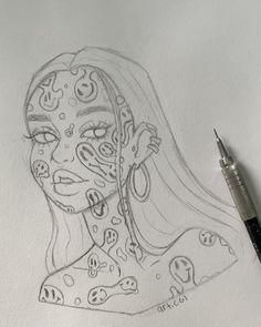 Girl Drawing Sketches, Art Drawings Sketches Simple, Pencil Art Drawings, Cute Drawings, Drawing Ideas, Hippie Painting, Arte Sketchbook, Hippie Art, Cartoon Art Styles