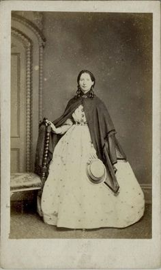CDV: Woman wearing a hooped dress & shawl by Earl of Worcester c.1860