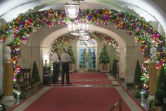 Decorations hang in the hallway off the China Room at the White House in Washington, DC. Photo: Jim Watson, AFP/Getty Images