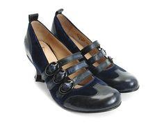 Vintage 90s John Fluevog Black Swirl Leather Boots Shoes