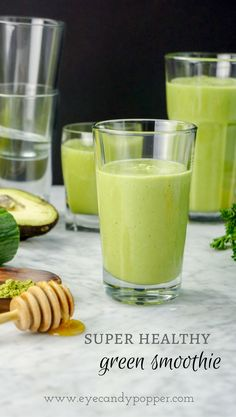 A simple and refreshing dairy-free recipe for a Super Healthy Green Smoothie, packed with vegetables and nutrition, with just the right amount of sweetness. Healthy Green Smoothies, Easy Smoothies, Smoothie Recipes, Milk Recipes, Raw Food Recipes, Healthy Recipes, Vitamix Recipes, Shake Recipes, Free Recipes
