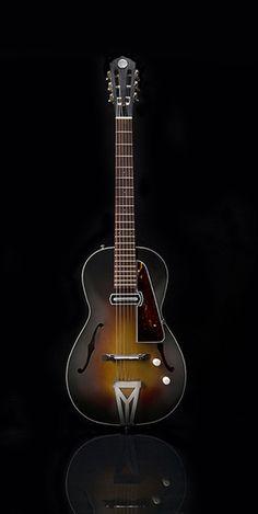 Rosetta parlour electric guitar, in tobacco-burst.
