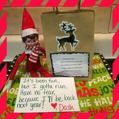 Elf on the shelf ideas. On the last day before the elf heads back to the North Pole, he wrote a note and brought reindeer food (oats mixed with sprinkles).