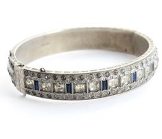 Antique Art Deco Signed Allco Hinged Bracelet by Maejean Vintage, $95.00